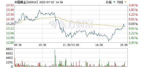 中国黄金(600916)实时行情